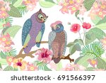 owls in the garden. seamless... | Shutterstock .eps vector #691566397