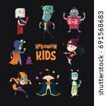 halloween.children in halloween ... | Shutterstock .eps vector #691568683