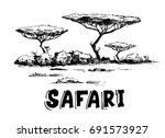sketch of the african savanna...   Shutterstock .eps vector #691573927