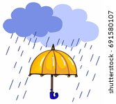 yellow umbrella and raining... | Shutterstock . vector #691580107