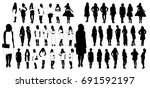 isolated silhouettes set of... | Shutterstock .eps vector #691592197