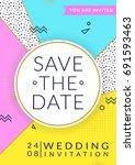 wedding invitation template.... | Shutterstock .eps vector #691593463