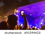 hand with smartphone records...   Shutterstock . vector #691594423
