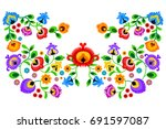 folk embroidery ornament with...   Shutterstock .eps vector #691597087