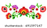 folk embroidery ornament with... | Shutterstock .eps vector #691597147