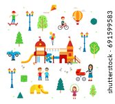 people and children in the park ... | Shutterstock .eps vector #691599583