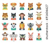 Stock vector hipster animal set 691606627