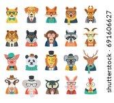 Stock vector hipster animal set 691606627