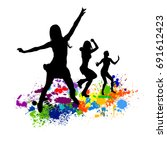 abstract disco dancing girls.... | Shutterstock .eps vector #691612423