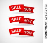 sale. red ribbons horizontal... | Shutterstock .eps vector #691619413