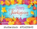 happy thanksgiving greeting... | Shutterstock .eps vector #691620643