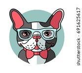 cute cartoon bulldog in glasses....   Shutterstock .eps vector #691625617