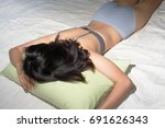woman sleep on bed with... | Shutterstock . vector #691626343