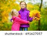 two cute little girls having... | Shutterstock . vector #691627057
