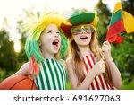 two funny little sisters... | Shutterstock . vector #691627063