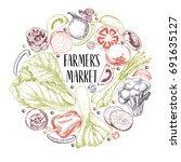 vector hand drawn farm... | Shutterstock .eps vector #691635127