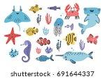 sea life set. hand drawn algae  ... | Shutterstock .eps vector #691644337