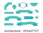 set of ribbons. modern flat... | Shutterstock . vector #691647727