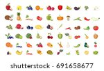 fruits illustrations set on... | Shutterstock .eps vector #691658677