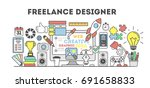freelance designer illustration.... | Shutterstock .eps vector #691658833