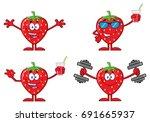 strawberry fruit cartoon mascot ... | Shutterstock .eps vector #691665937