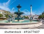 rossio square old town in baixa ... | Shutterstock . vector #691677607