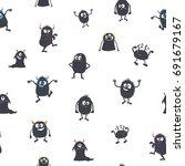 cute cartoon monsters. seamless ... | Shutterstock .eps vector #691679167