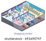 isometric interior shopping... | Shutterstock .eps vector #691690747
