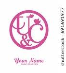 u c initial wedding decorative... | Shutterstock .eps vector #691691977