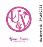 u y initial wedding decorative... | Shutterstock .eps vector #691692733