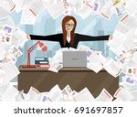 business woman with pile of... | Shutterstock .eps vector #691697857