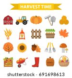 autumn harvest time icons set