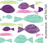 fish seamless pattern. colorful ...   Shutterstock .eps vector #691701763