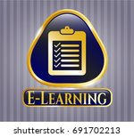 gold badge with list icon and... | Shutterstock .eps vector #691702213