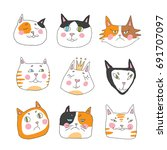cats  set of cute doodle. funny ... | Shutterstock .eps vector #691707097