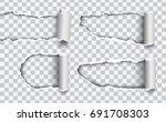 set of vector holes torn in... | Shutterstock .eps vector #691708303