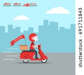 delivery ride motorcycle... | Shutterstock .eps vector #691711843
