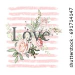 floral cute  poster design.... | Shutterstock . vector #691714147