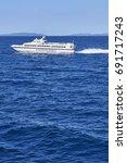 Small photo of CROATIA, ADRIATIC SEA - July 14, 2017: Ferry Jadrolinija between islands of Croatia in Adriatic Sea