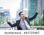 businessman showing  gladness ... | Shutterstock . vector #691725487