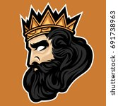 king with gold crown side view...   Shutterstock .eps vector #691738963