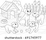 Stock vector childrens coloring book cartoon family on nature mom dog and puppies children for adults vector 691745977