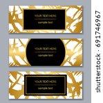 set of white  black and gold... | Shutterstock .eps vector #691746967