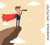 businessman super hero on the... | Shutterstock .eps vector #691751707