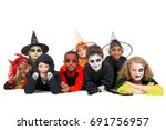 kids with face paint and... | Shutterstock . vector #691756957