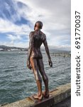 Small photo of WELLINGTON, NEW ZEALAND - FEBRUARY 13, 2017: Solace in the Wind Sculpture iconic-ally situated on Wellington Waterfront, Wellington, New Zealand.