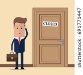 pensive businessman standing in ... | Shutterstock .eps vector #691771447