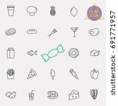 food and drink line icon set | Shutterstock .eps vector #691771957