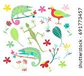 set of tropical animals ... | Shutterstock .eps vector #691773457