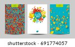 vector set of the autumn leaves ... | Shutterstock .eps vector #691774057